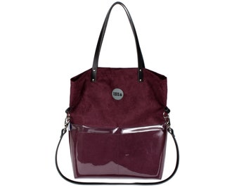 e504d39311c73 Maroon large tote bag with natural leather handles and strap, Shoulder  shopper bag with front pockets