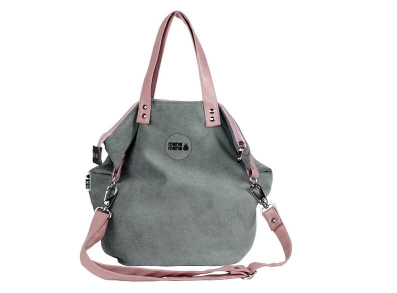 8eae8bdbf7974 Mała różowa szara torba Shopper z dzianiny ze sztuczną skórą | Etsy