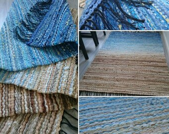 Blue and Beige Scandinavian Rag Rug
