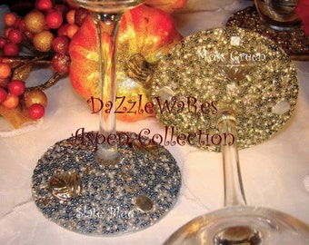 WINE- ASPEN Leaf Beaded Wine Glass-Slate BLUE-(Single)Gifts-Special Occassion-Couture Wedding-Autumn-Fall Home Decor-Birthday-Country Rustic
