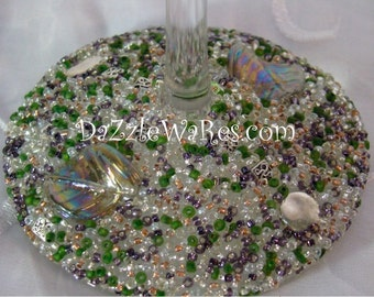 WINE- ASPEN Leaf Beaded Wine Glass-Purple & Moss GREEN-(Single)Gifts-Special Occassion-Couture Wedding-Autumn-Fall Home Decor-Country Rustic