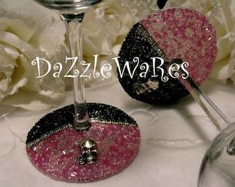 WINE- SKULLS Beaded Wine Glasses - Set of 2 Pink & Black  -Halloween-Fall-Autumn-Home Decor-Gothic-Racing-Entertaining-Bachelorette Party