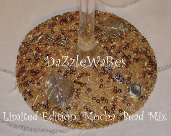 WINE- ASPEN Leaf Beaded Wine Glass- MOCHA- (Single) Gifts- Special Occassion-Couture Wedding-Autumn-Fall Home Decor-Birthday-Country Rustic