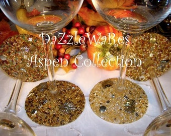 ASPEN LEAF Set 2 Beaded CHOICE of Wine,Martini or Flute Glasses-Gift-Special Occassion-Couture-Wedding-Autumn-Fall Home Decor-Country Rustic