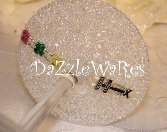 WINE- Drag Racing- NHRA Christmas Tree Theme SET of 2 Beaded Glasses -Birthday-Gifts-Home Decor-Couture-Racing-Pro Stock-Top Fuel-Sportsman
