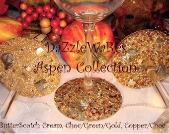 WINE- ASPEN Leaf Beaded Wine Glass- COPPER - (Single) Gifts-Special Occassion-Couture Wedding-Autumn-Fall Home Decor-Birthday-Country Rustic