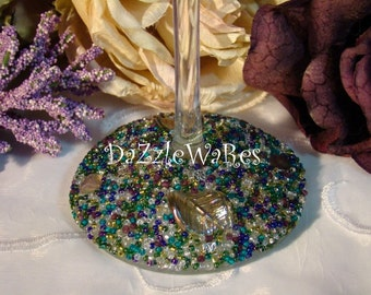 WINE- ASPEN Leaf Beaded Wine Glass- PURPLE Teal Mix-(Single) Gifts- Special Occassion-Couture Wedding-Autumn-Fall Home Decor-Country Rustic