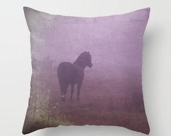purple pillow cover, purple horse, horse pillow, horse home decor, equine decor, purple, mauve, lilac, heather