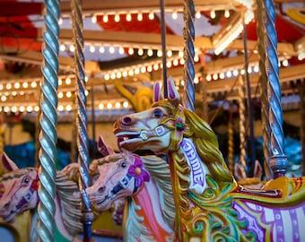 Nursery art, carousel photo, fairground art, carousel horses, art for baby's room, merry go round, kids room