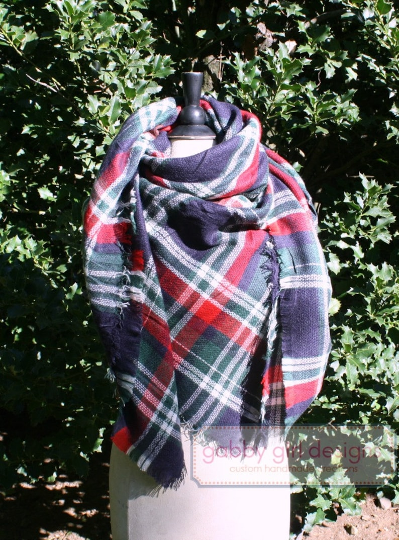 a8e30ff6d3f4f Plaid Blanket Scarf Monogrammed Blanket Scarf Red and Navy | Etsy