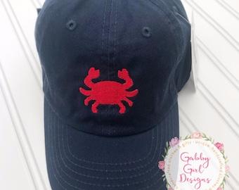 Toddler Hat - Personalized - Kids Hat - Crab Hat - Baseball Cap - Monogrammed Hat - Monogrammed Cap - Unisex Gift  - Sealife Cap