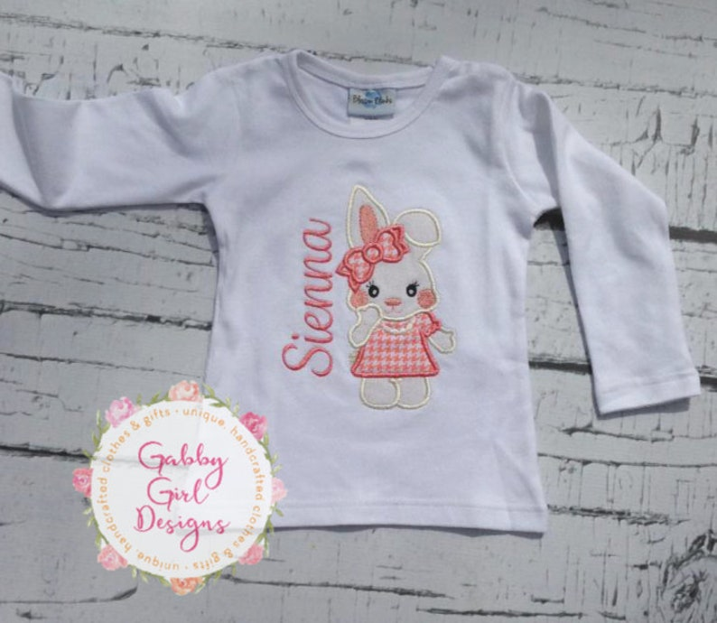 17ab6f9f64 Personalized Adorable Bunny Shirt - Bunny Shirt Toddler Girl - Easter Bunny  Applique T Shirt - Applique Shirt Girl- Personalized Easter