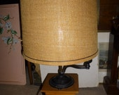 Arcade Coffee Grinder Lamp - Rare tall form with handle, storage drawer and spinning crank and swinging cast iron lid