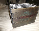 Canada Dry Crate - Antique Tall Wood and Steel Form - Text on 4 Sides - Lined to allow Handle use - Great Functional Decor for the Soda Fan