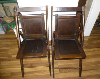 Antique Wood Folding Chairs   Matched Set Of 2   Great Condition   Stylish    Sturdy And Space Saving Forms For Event Or Daily Use