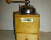 Zassenhaus Coffee Grinder - MInt Condition - Mid-Mod light stain version - spin top load lid - wood catch drawer