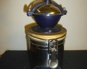 Italian Coffee Grinder Decorated Coffee Bean Canister - Rare Fun Form by Danesi Caffe of Rome.