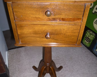 Funky Federal Style Telephone Table Or Candle Stand With 2 Drawers And  Scalloped Edge Around Tabletop   By Ferguson Furniture