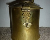 Ornate brass tea caddy with lockable clasp - rugged form and classic styling - stylish storage for any room