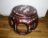 Vintage Mother of Pearl Inlaid Rosewood Side or End Table plant stand - Round Barrel Shape - charming Chinese or asian accent piece
