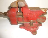 Vintage Table-top Vise and anvil - Columbian Red Arrow Model 63 1 2 - Great condition - 3.5 quot grip