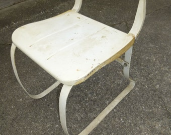 Ironrite Health Chair - worlds first ergonomic chair - steel form in original white paint
