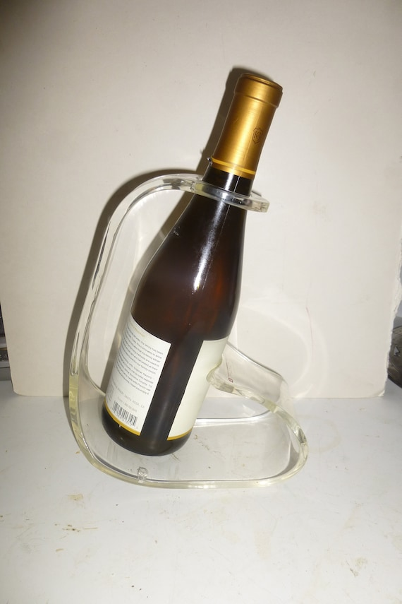 Lucite Wine Bottle Holder Unusual Mid Mod Form Of Clear Etsy