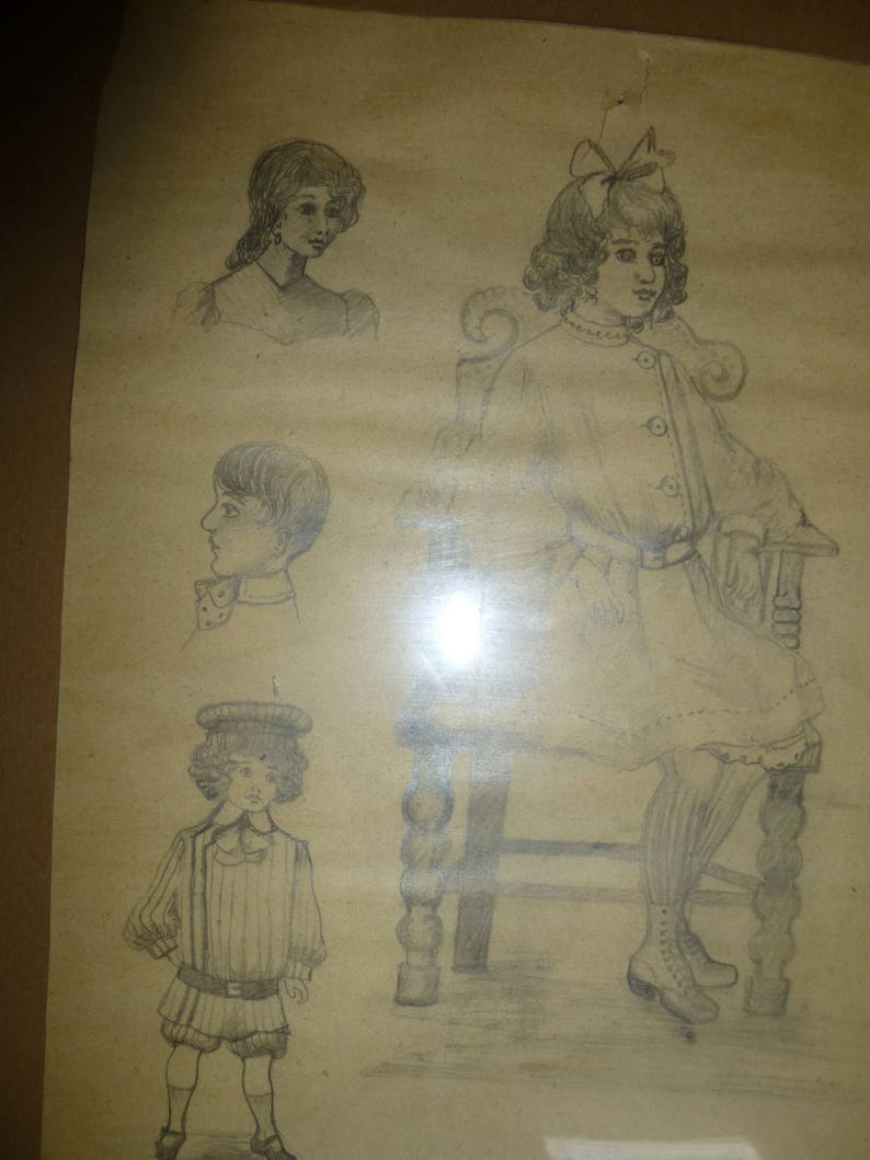 Antique pencil sketches of children 19th century originals drawn by 15 year old disabled african american girl