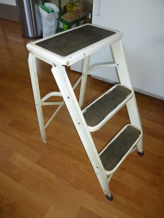 Surprising Funky Folding Steel Step Ladder Stepstool With 2 Rubber Tread Topped Steps And Seat Folds Easily For Storage Fun Industrial Shelf Unit Beatyapartments Chair Design Images Beatyapartmentscom
