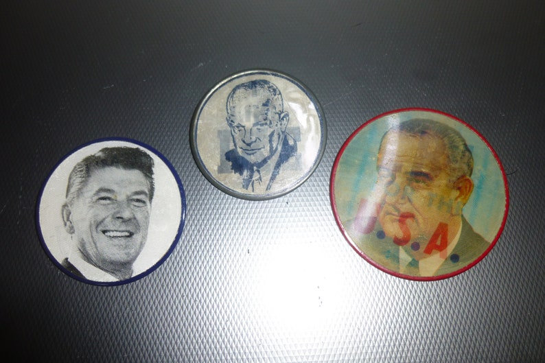 11a4531ebfe4 Political Pinback Buttons Reagan-Ike and LBJ pins moving | Etsy