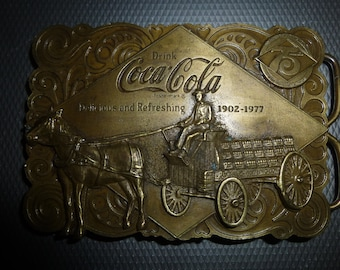 Coca-Cola Belt Buckle and Bottle Opener - 2 in 1 Form - 1976 75th anniversary licensed Coke product with horse drawn Coke Cart