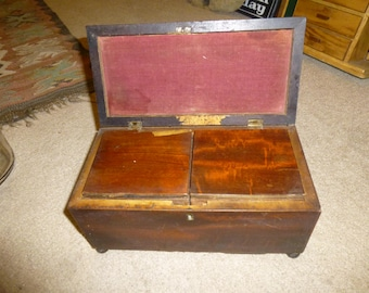 Antique Tea Caddy - Handmade in 1823 - 2 inner boxes - tongue and groove construction - elevated form