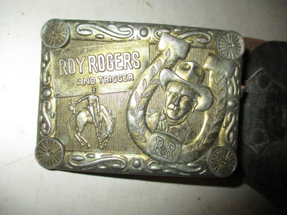 Antique Roy Rogers Belt Buckle and Leather Belt -