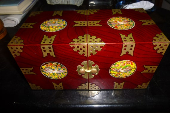 Excellent Condition Enamel and Brass Decor on Lacquered Rosewood Korean Folding Form with 4 Drawers Ornate Jewelry Box