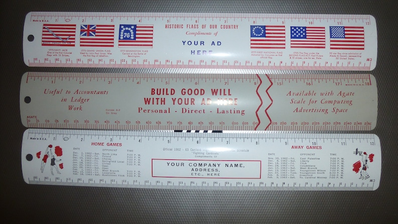 Accounting Example Advertising Rulers Historic Flags of US Set of 3 Salesmans samples 1962-63 Canfield HighSchool Basketball Scedule