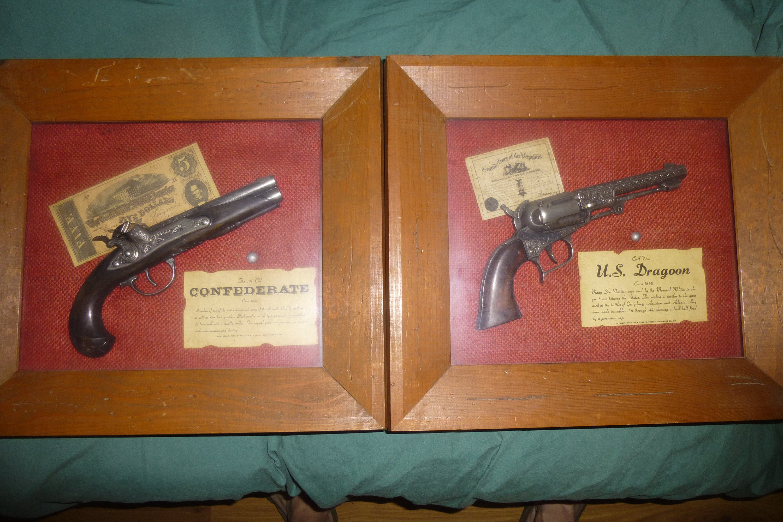 Guncrafter Collection Replica Pistols by Gangler Gentry - Framed Shadowbox  Historical Pistols - US Dragoon Revolver - Confederate Derringer