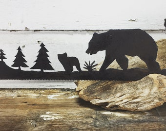 Metal Bear Woodland Scene Plasma Cut by Hand Repurposed Hand Saw, Wall Decor, Art
