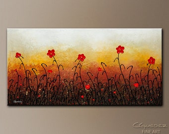 RED FLOWERS Original Large Modern Abstract Art by CGUEDEZ. Beautiful Canvas Painting. Hand-Made Floral Art. Red Flower Garden. Free Shipping