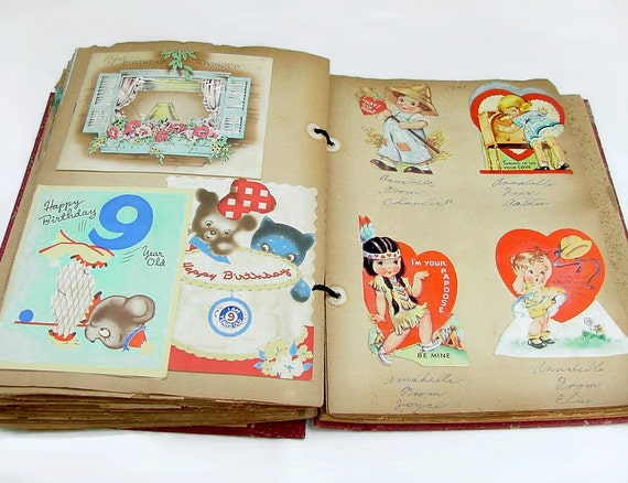 Vintage scrapbook 1930s scrapbook greeting card album etsy image 0 m4hsunfo
