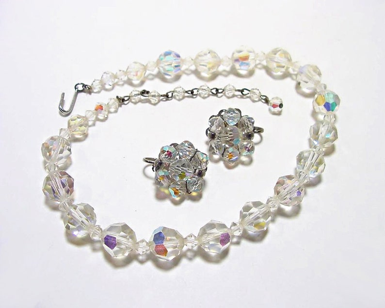 Aurora Borealis Faceted Crystal Ball Necklace With Matching Clip On Earrings Vintage 1950s Glamour