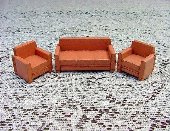 Awe Inspiring Vintage Dollhouse Furniture Sofa With 2 Matching Wood Living Room Chairs Strombecker Farmhouse Style Depression Era 1930S Evergreenethics Interior Chair Design Evergreenethicsorg