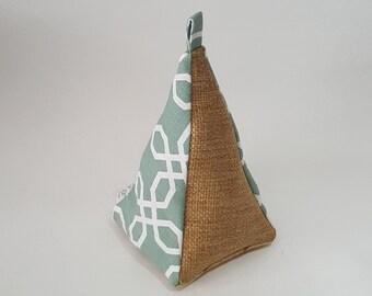 Fabric Doorstop, Doorstopper, Door Stopper, Heavy Doorstop, Pyramid Shaped,  Burlap Mint