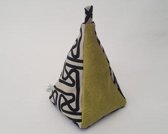 Fabric Doorstop, Doorstopper, Door Stopper, Heavy Doorstop, Pyramid Shaped,  Fretting Green