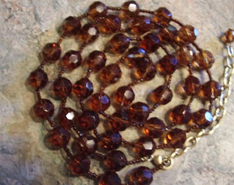 Vintage Long Smokey Quartz/Root Beer Coloured  Faceted Crystal Bead Necklace