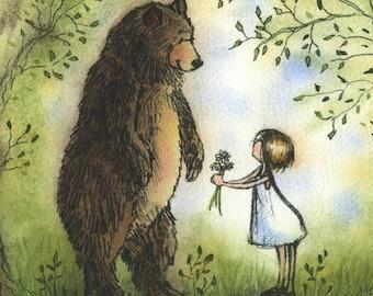 Kindness Matters - Bear and Little Girl Wall Art Print