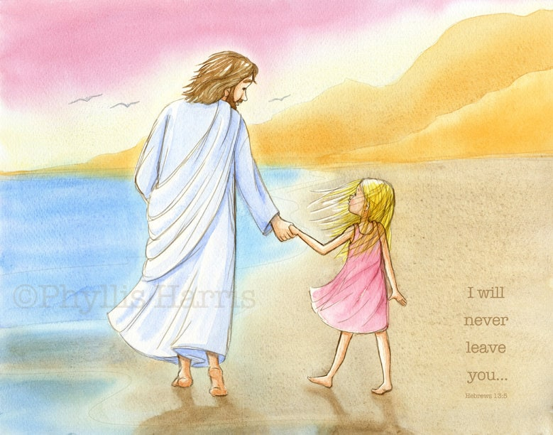 Children\'s Wall Art Jesus and little girl walking on the