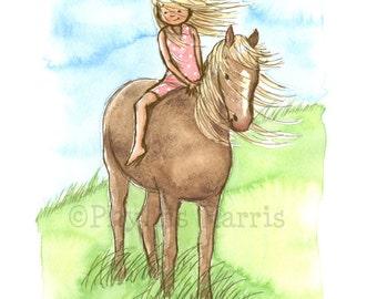 Children's Wall Art Print, Girl's room art - Horse Girl - Girl's room decor- customizable hair color and dress color on little girl