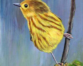 Yellow Warbler Bird Art Wildlife  SFA  - Original hand painted acrylic bird painting by Australian Artist Janet M Graham