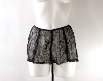 696bba0216c Black Pure Silk French Knickers with Lace Detail
