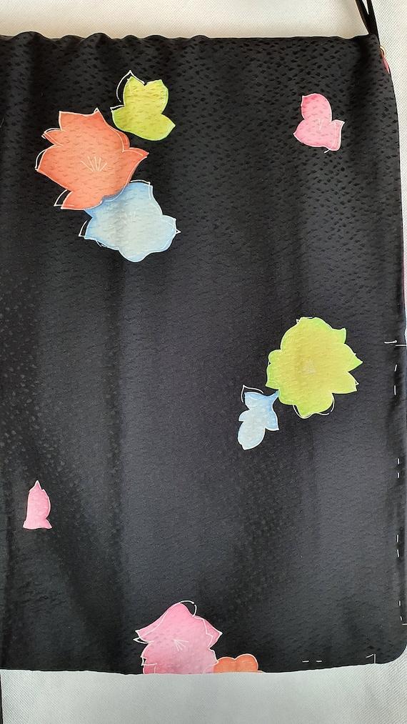 Black Snow Storm Crepe Silk 1970's Vintage Floral